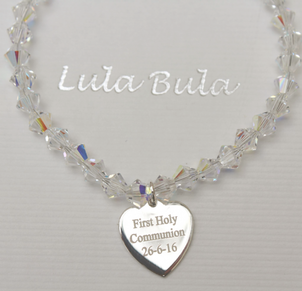 First Holy Communion gift crystal bracelet - FREE ENGRAVING